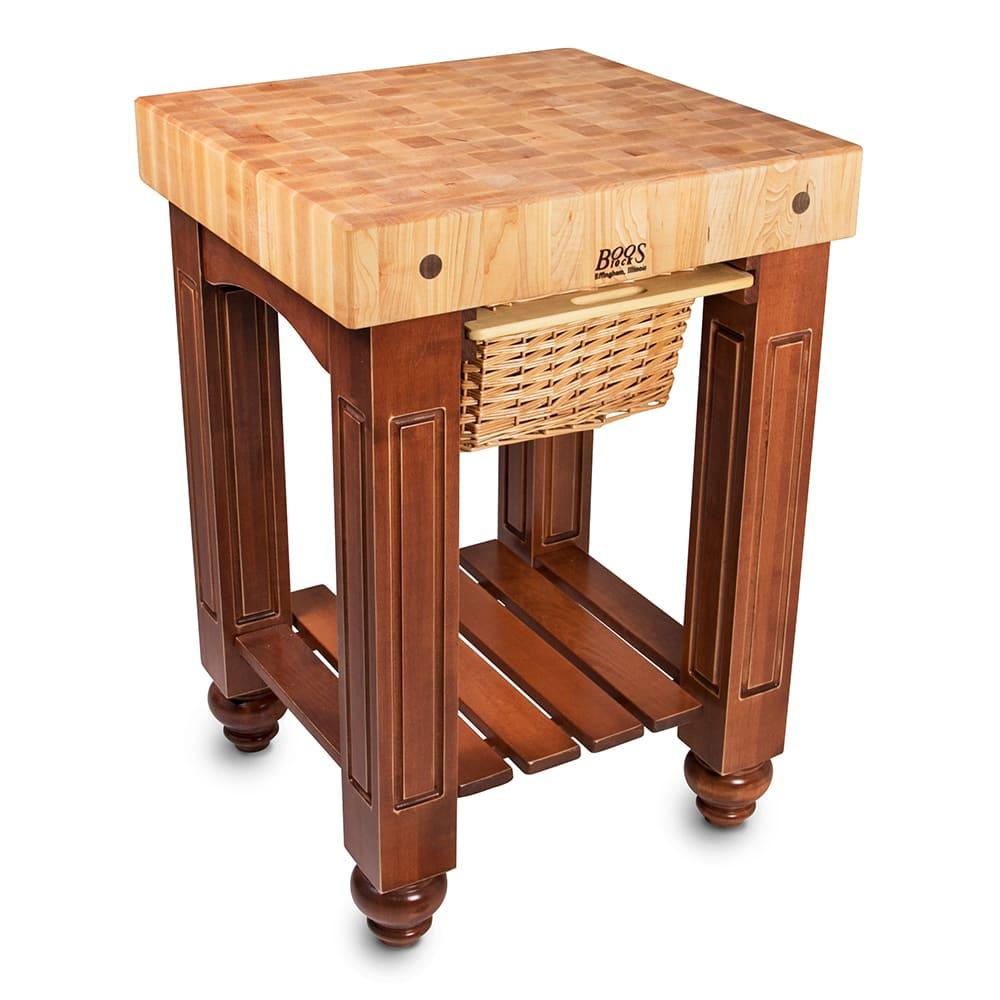 "John Boos CU-GB25 25"" Gathering Block Table, Hard Maple Top w/ Warm Cherry Stain Base"