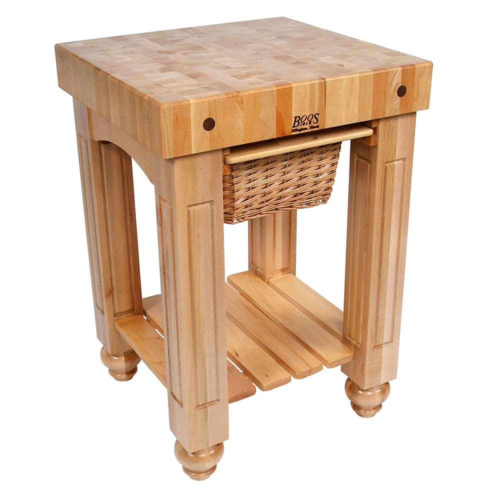 "John Boos CU-GB25-N 25"" Gathering Block Table, Hard Maple Top w/ Natural Base"
