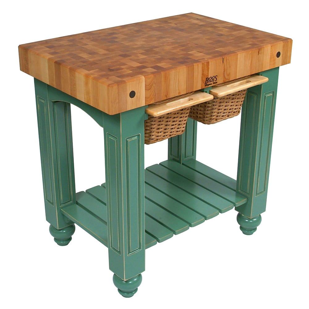 """John Boos CU-GB3624-BS 36"""" Gathering Block Table II, Hard Maple Top w/ Basil Green Base"""