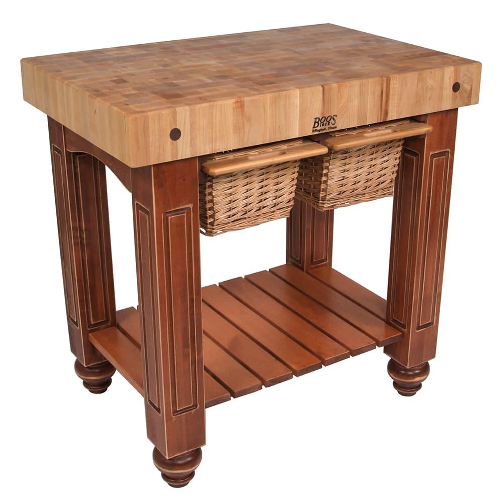 """John Boos CU-GB3624-CR 36"""" Gathering Block Table II, Hard Maple Top w/ Warm Cherry Stain Base"""