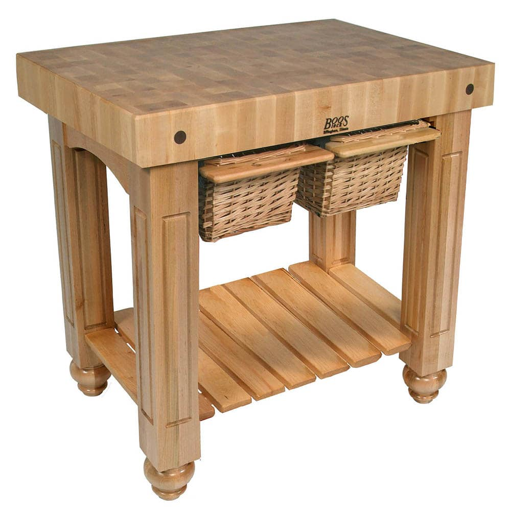 "John Boos CU-GB3624-N 36"" Gathering Block Table II, Hard Maple Top w/ Natural Maple Base"