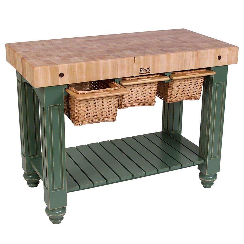 """John Boos CU-GB4824-BS 48"""" Gathering Block Table III, Hard Maple Top w/ Basil Green Base"""