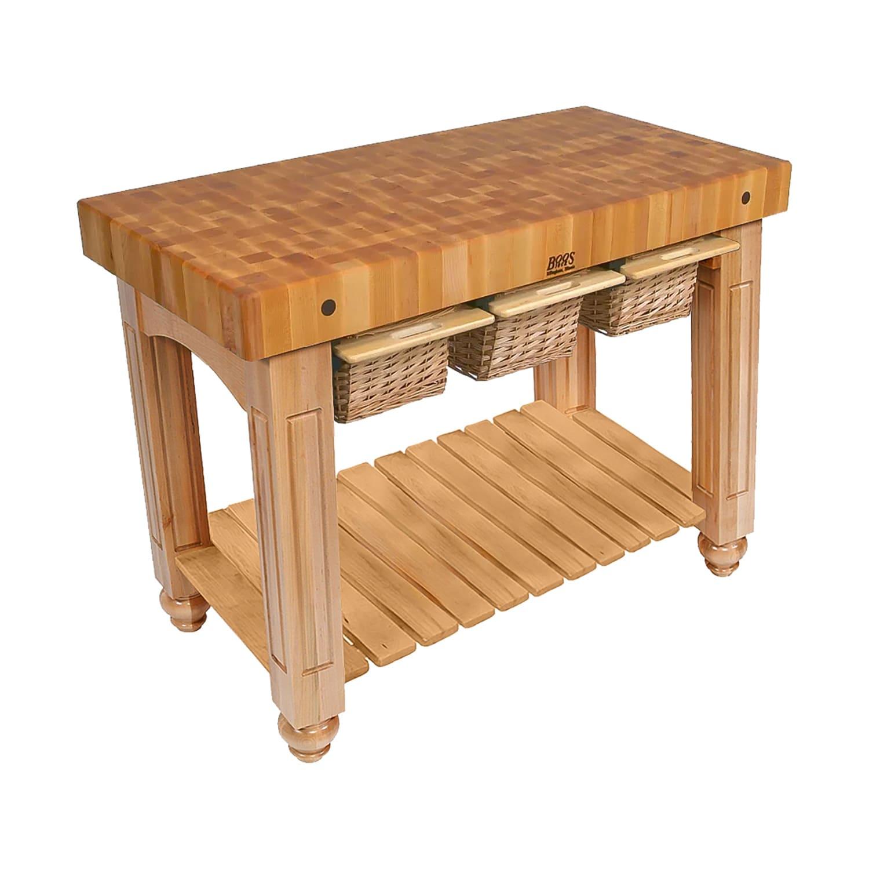 """John Boos CU-GB4824-N 48"""" Gathering Block Table III, Hard Maple Top w/ Natural Maple Base"""