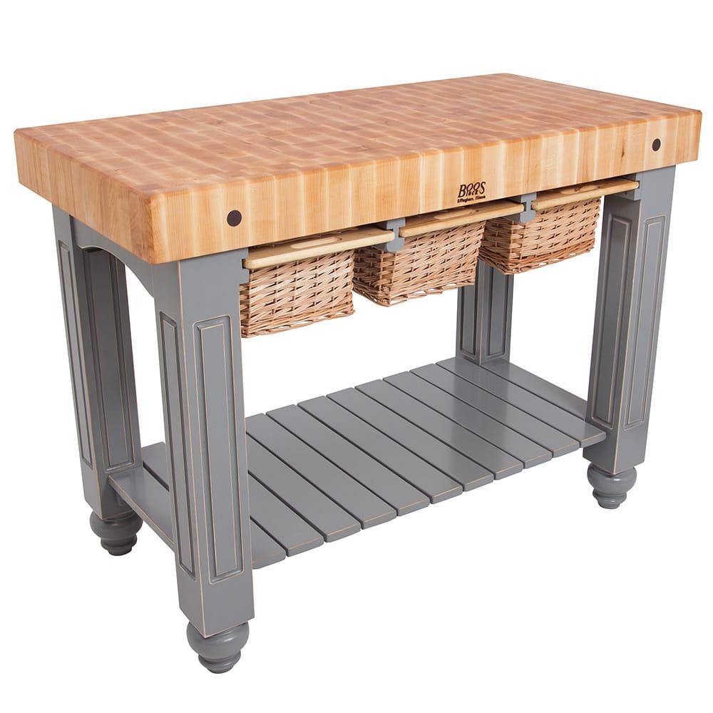 """John Boos CU-GB4824 48"""" Gathering Block Table III, Hard Maple Top w/ Useful Gray Stain Base"""
