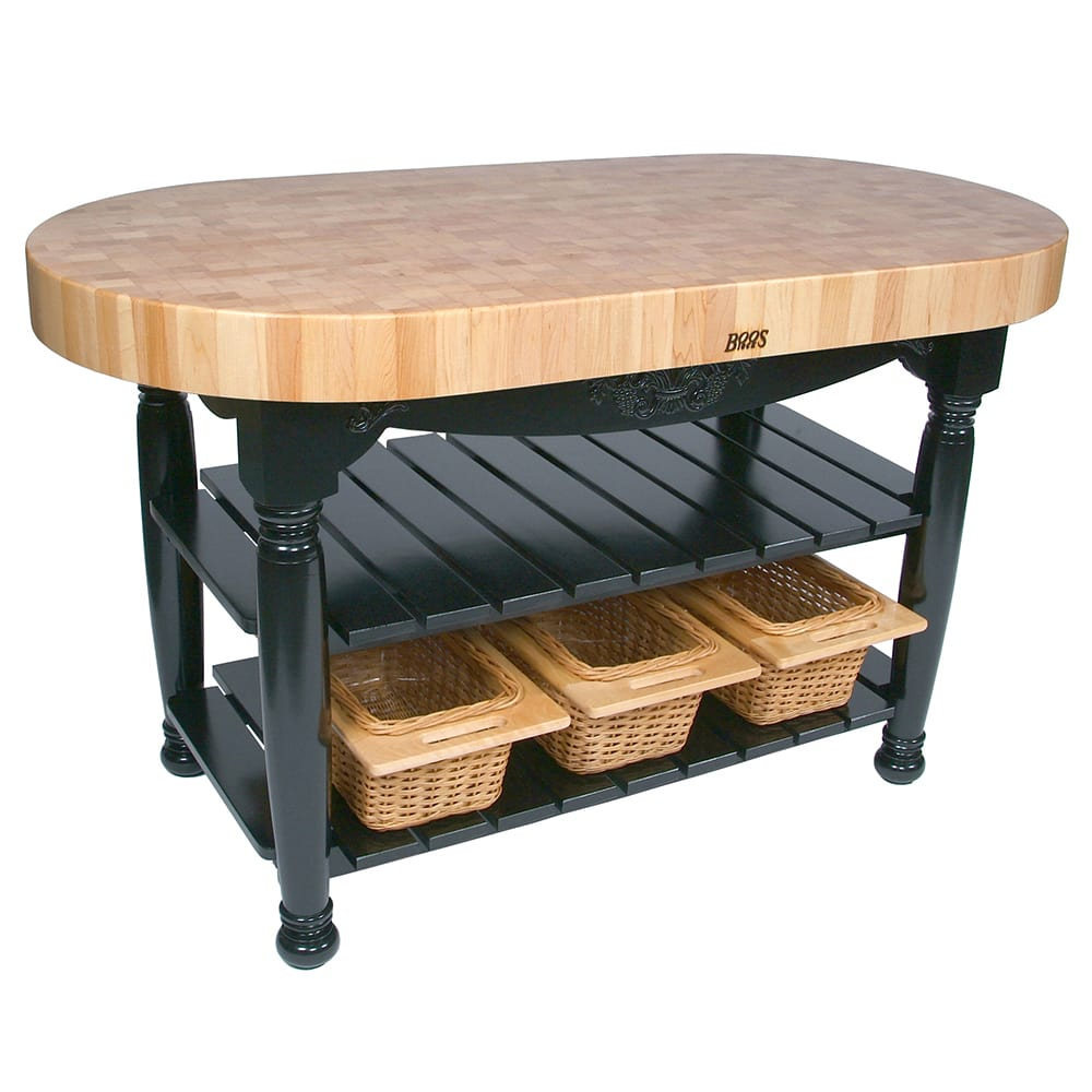 "John Boos CU-HAR60-BK 60"" Oval Butcher Block, Hard Maple Top w/ Caviar Black Base"