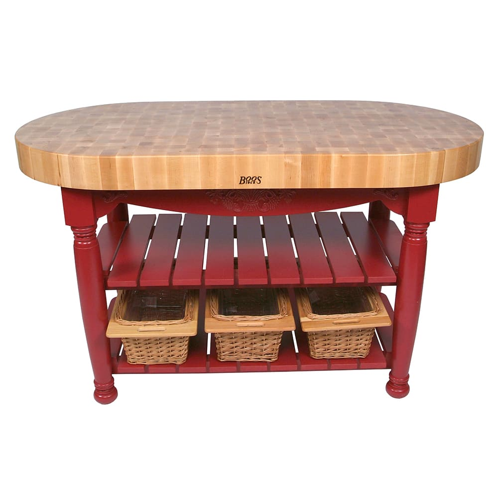 "John Boos CU-HAR60-BN 60"" Oval Butcher Block, Hard Maple Top w/ Barn Red Base"