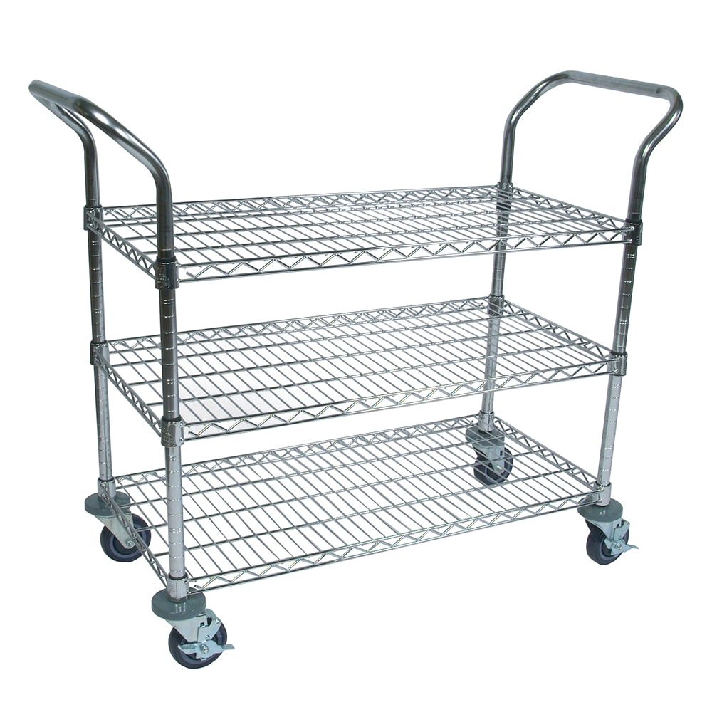 John Boos CWC-1836-3 Chrome Wire Cart w/ 3-Sheves & Numbered Posts, Locking Casters, 18 x 36""