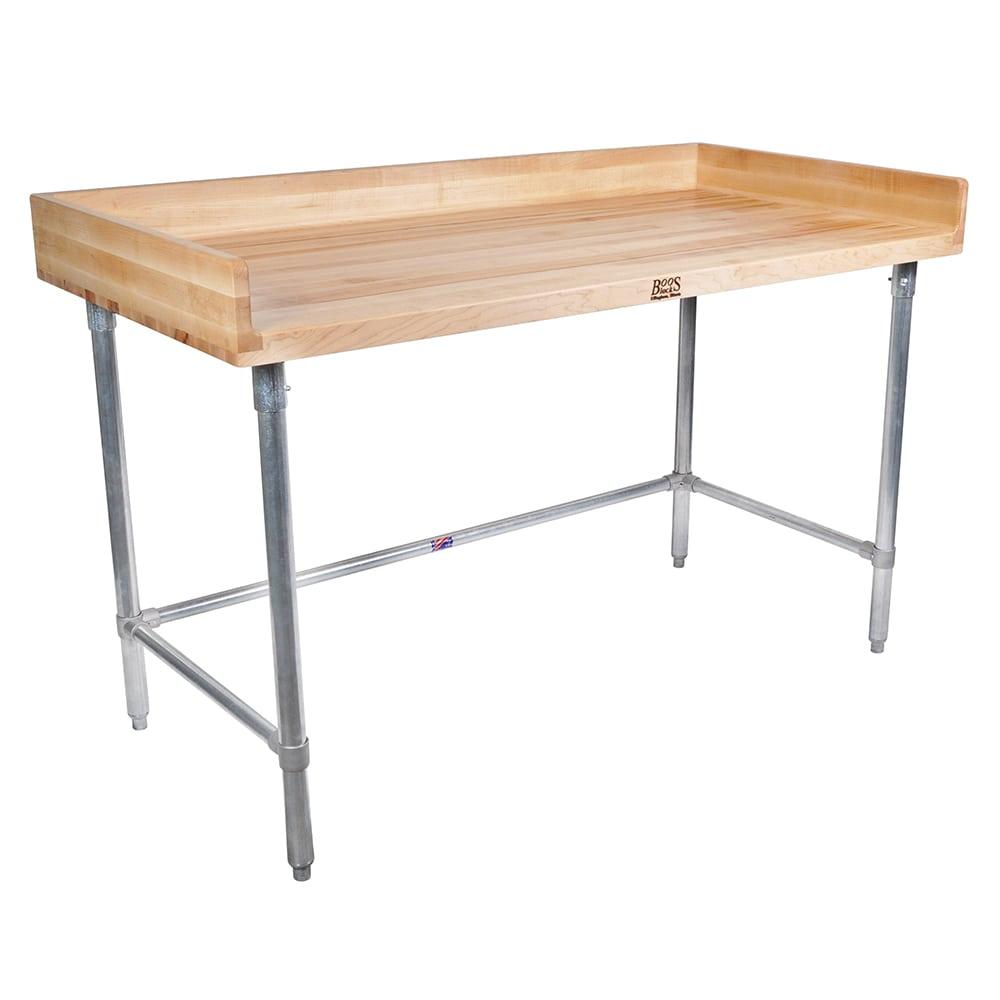 "John Boos DNB14 60"" Maple Top Bakers Table w/ 4"" Splash & Open Base, 36""D"