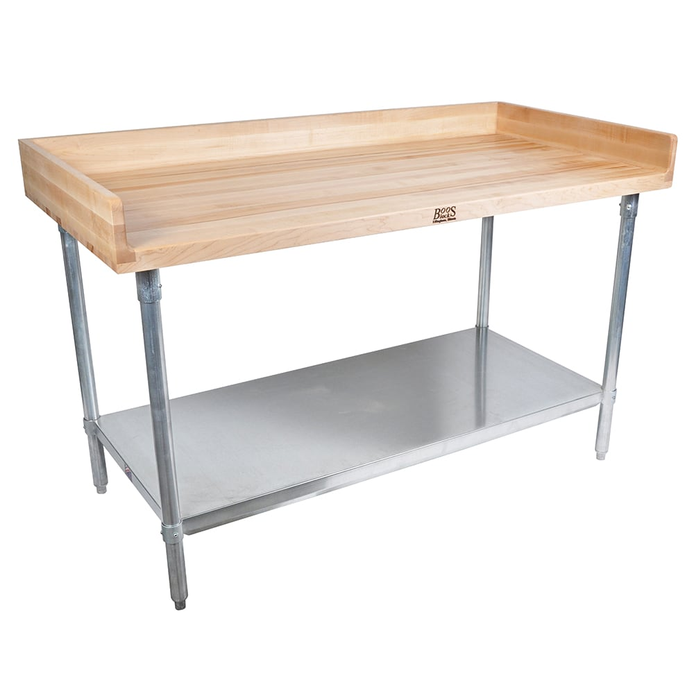 "John Boos DNS09 72"" Maple Top Bakers Table w/ 4"" Splash & Undershelf, 30""D"