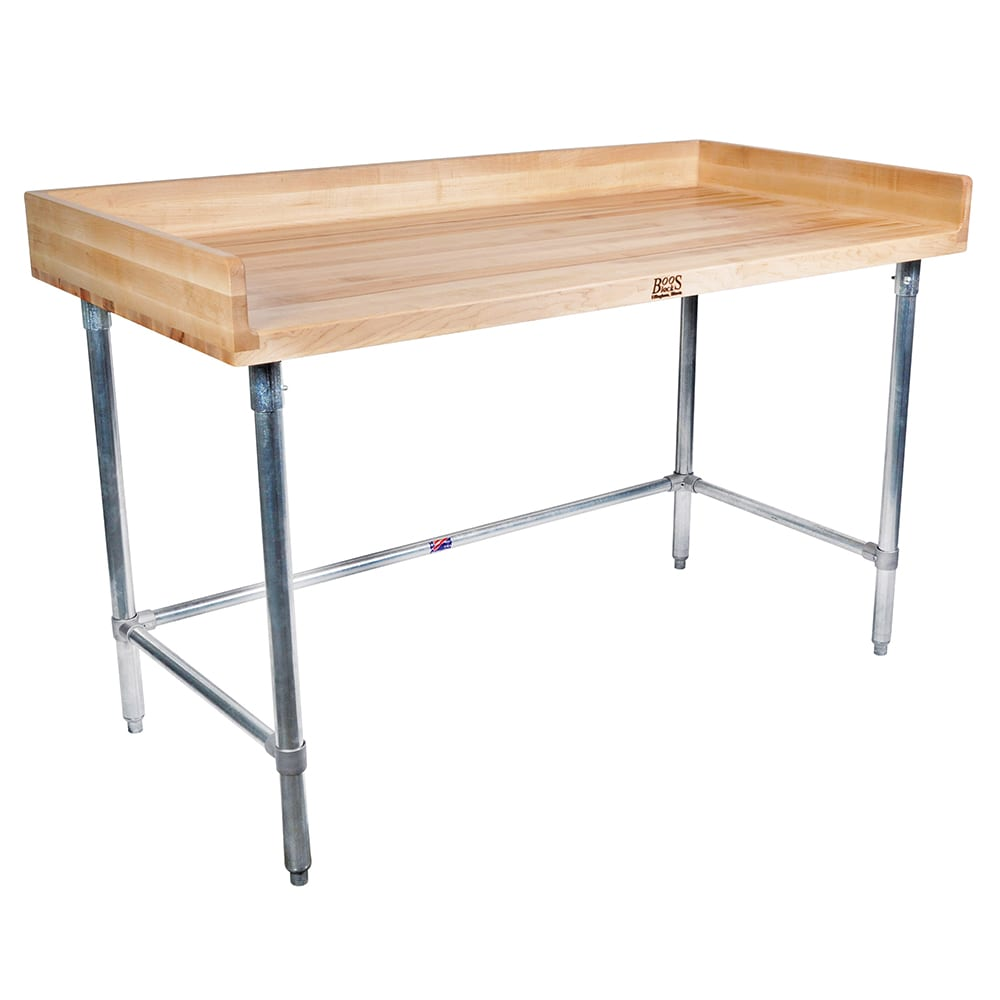 "John Boos DSB14 96"" Maple Top Bakers Table w/ 4"" Splash & Open Base, 36""D"