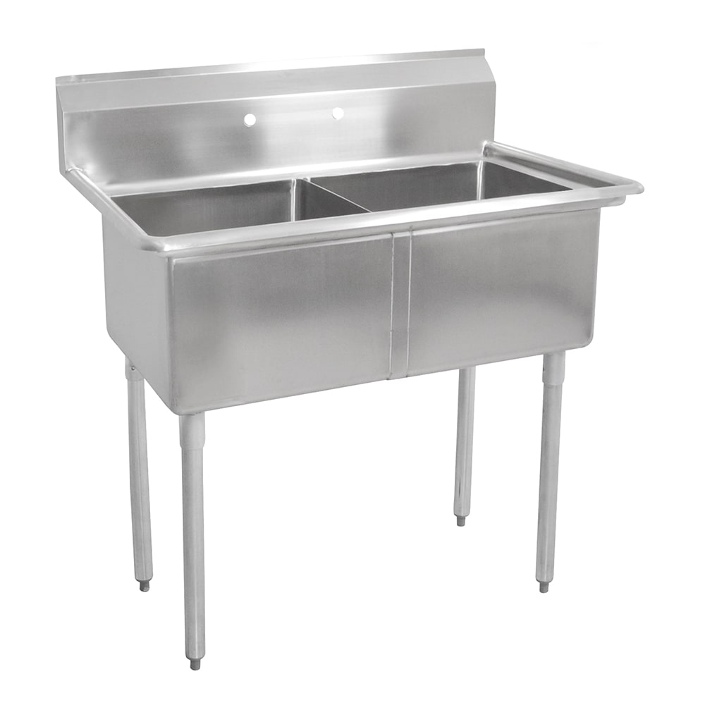 "John Boos E2S8-1620-12 37"" 2 Compartment Sink w/ 16""L x 20""W Bowl, 12"" Deep"