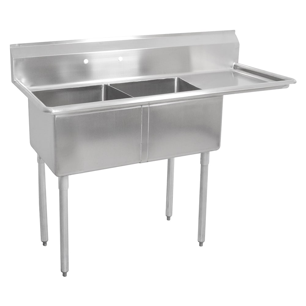 "John Boos E2S8-1620-12R18 52.5"" 2-Compartment Sink w/ 16""L x 20""W Bowl, 12"" Deep"