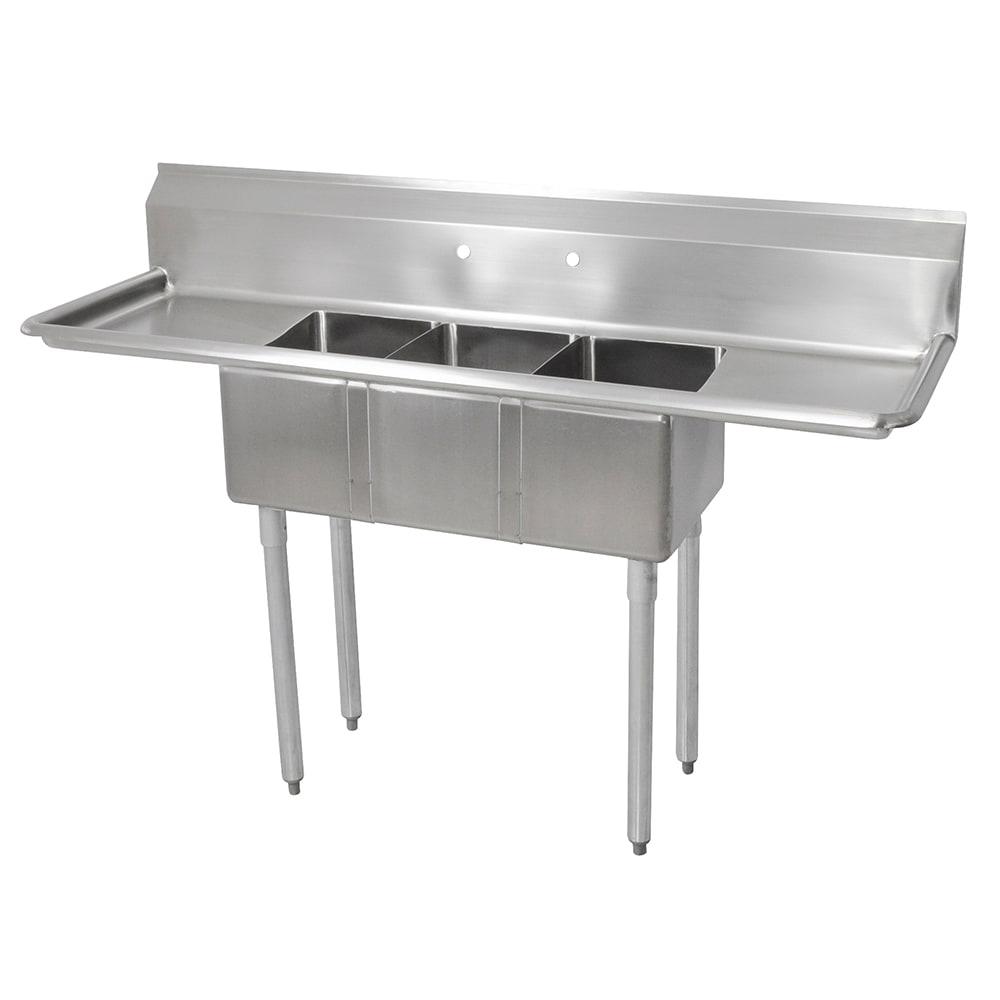 "John Boos E3S8-1014-10T15 60"" 3-Compartment Sink w/ 10""L x 14""W Bowl, 10"" Deep"