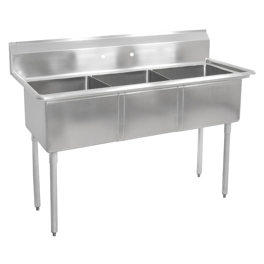 "John Boos E3S8-18-12 59"" 3-Compartment Sink w/ 18""L x 18""W Bowl, 12"" Deep"