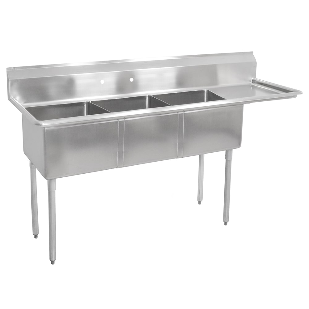 "John Boos E3S8-18-12R18 74.5"" 3-Compartment Sink w/ 18""L x 18""W Bowl, 12"" Deep"