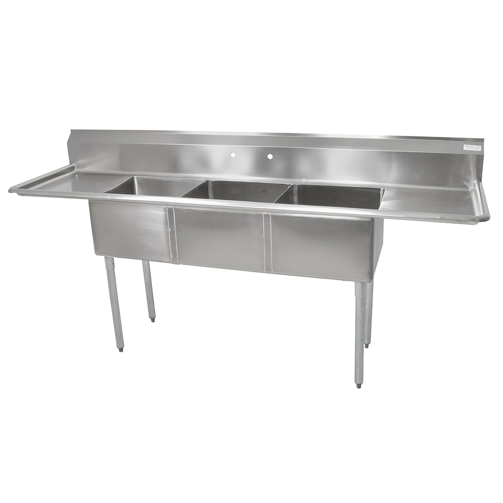 "John Boos E3S8-18-12T18 90"" 3 Compartment Sink w/ 18""L x 18""W Bowl, 12"" Deep"