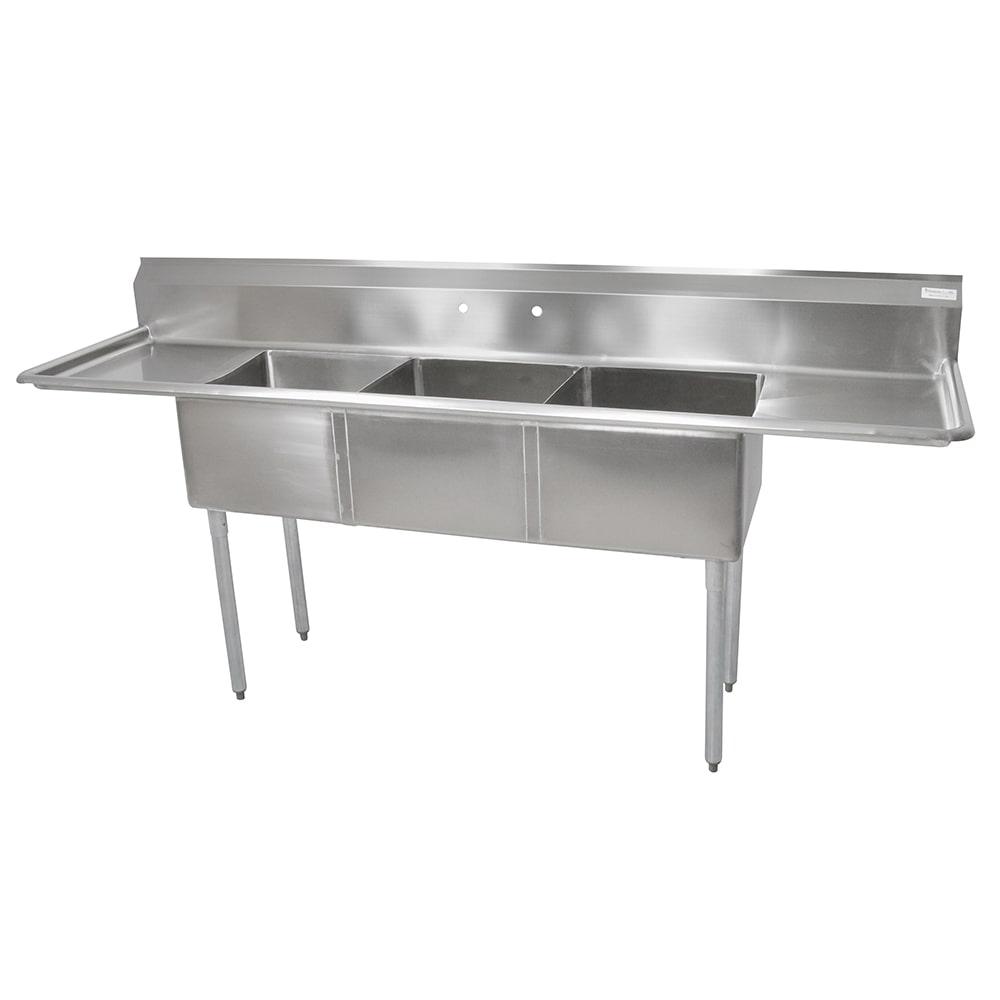 "John Boos E3S8-1824-14T24 104"" 3 Compartment Sink w/ 18""L x 24""W Bowl, 14"" Deep"