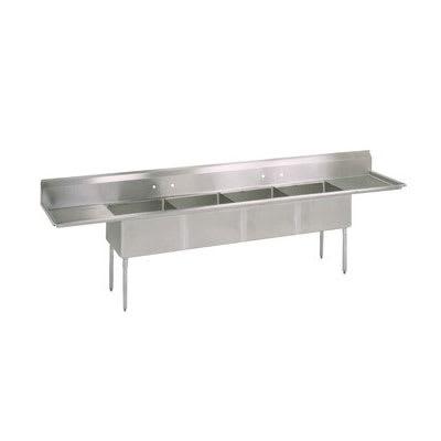 "John Boos E4S8-1620-14T18 100"" 4-Compartment Sink w/ 16""L x 20""W Bowl, 14"" Deep"