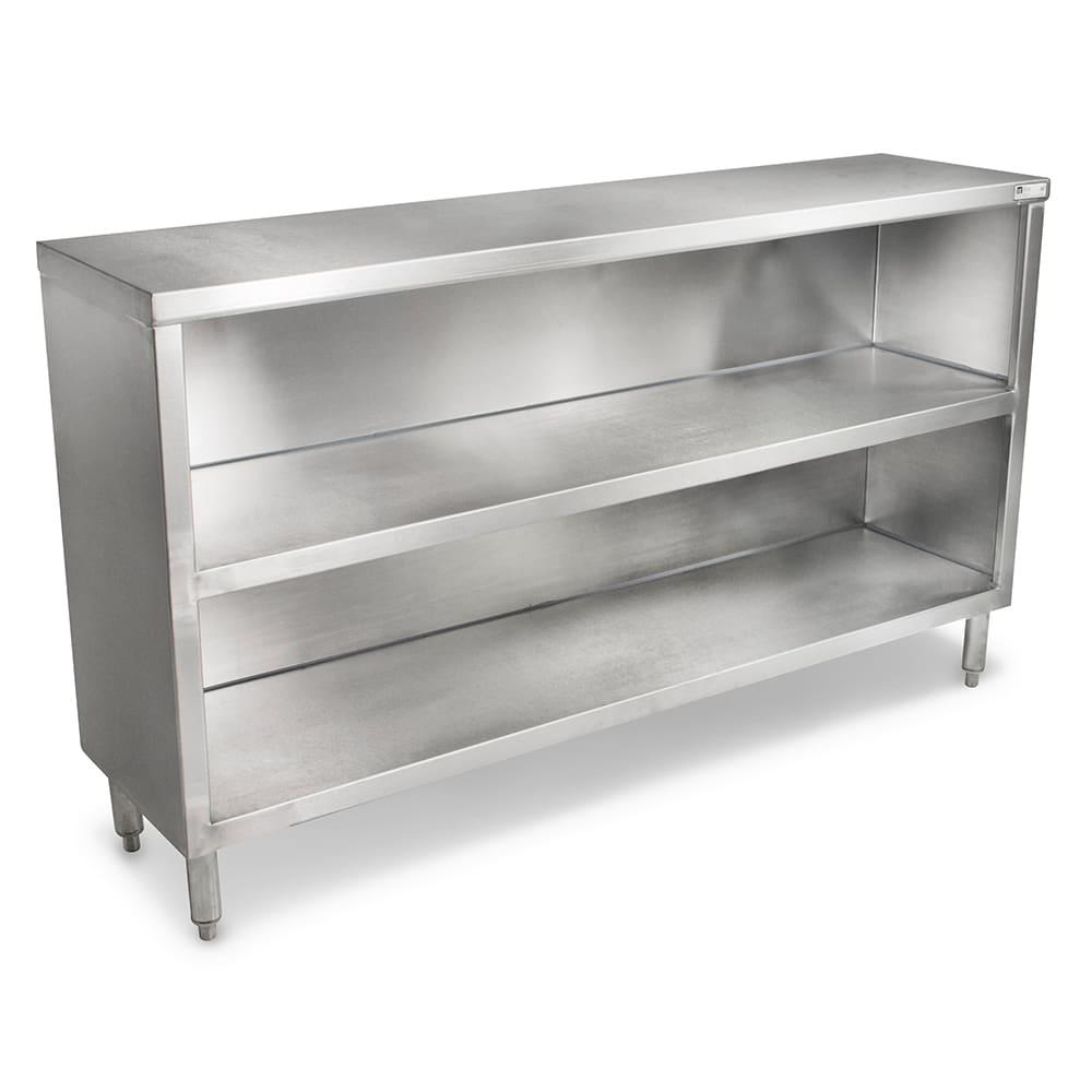 "John Boos EDSC8-1572 72"" Enclosed Work Table w/ Open Base & Midshelf, 15""D"