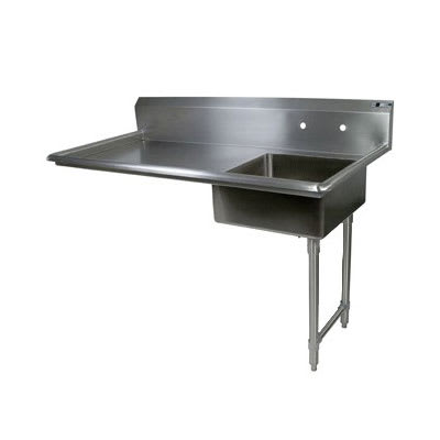 "John Boos EDTS8-S30-60UCR 60"" Undercounter Soiled Dishtable w/ 18 ga Stainless Legs, R to L"