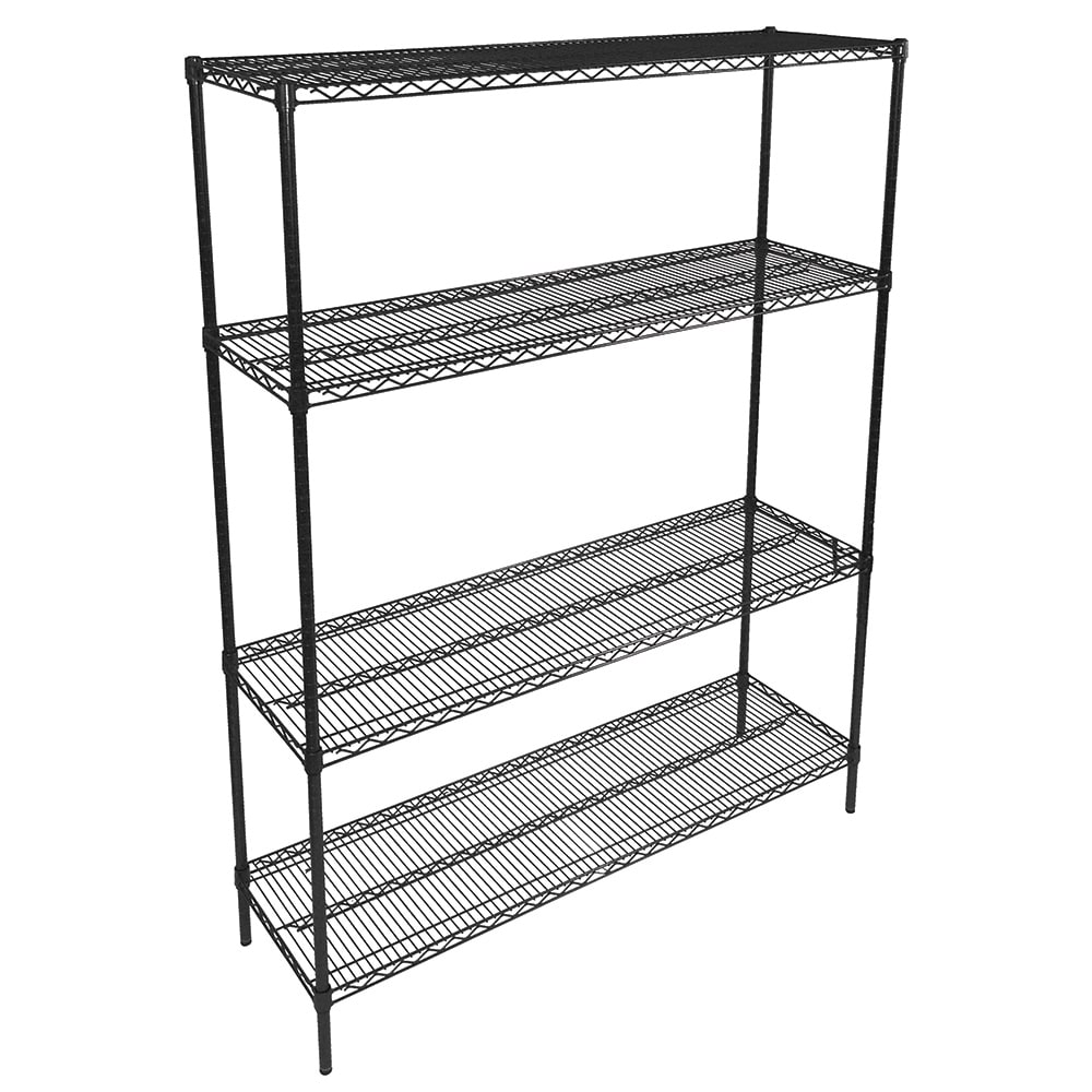 "John Boos EP-143666-BK Epoxy Coated Wire Shelf Kit - 36""W x 14""D x 66""H"