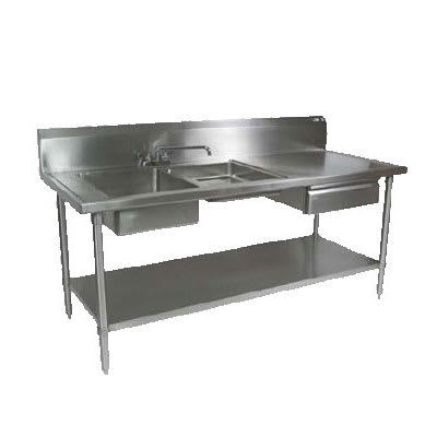 "John Boos EPT6R10-DL2B-72L 72"" Prep Table w/ (1) 16x20x8"" & (1) 16x 20x4"" Left-Side Bowl, Deck Mount"
