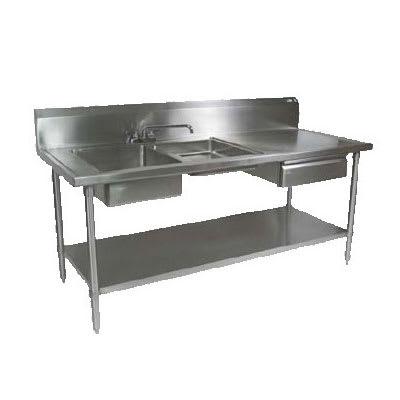 """John Boos EPT6R10-DL2B-96L 96"""" Prep Table w/ (1) 16x20x8"""" & (1) 16x 20x4"""" Left-Side Bowl, Deck Mount"""