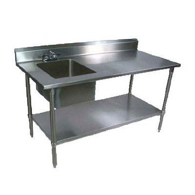 "John Boos EPT6R5-3060GSK-L 60"" Prep Table w/ Left-Side Sink & Deck Mount Faucet, Galvanized Undershelf"