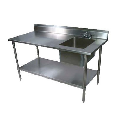 "John Boos EPT6R5-3060GSK-R 60"" Prep Table w/ Right-Side Sink & Deck Mount Faucet, Galvanized Undershelf"