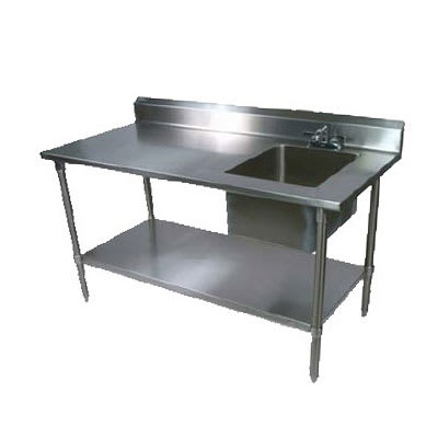 "John Boos EPT6R5-3060SSK-R 60"" Prep Table w/ Right-Side Sink & Deck Mount Faucet, Stainless Undershelf"