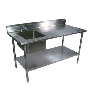 "John Boos EPT6R5-3072GSK-L 72"" Prep Table w/ Left-Side Sink & Deck Mount Faucet, Galvanized Undershelf"