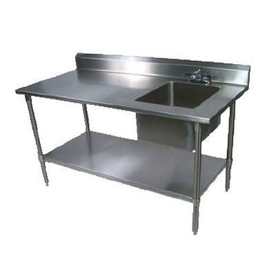 "John Boos EPT6R5-3072GSK-R 72"" Prep Table w/ Right-Side Sink & Deck Mount Faucet, Galvanized Undershelf"