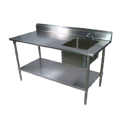"John Boos EPT6R5-3072SSK-R 72"" Prep Table w/ Right-Side Sink & Deck Mount Faucet, Stainless Undershelf"