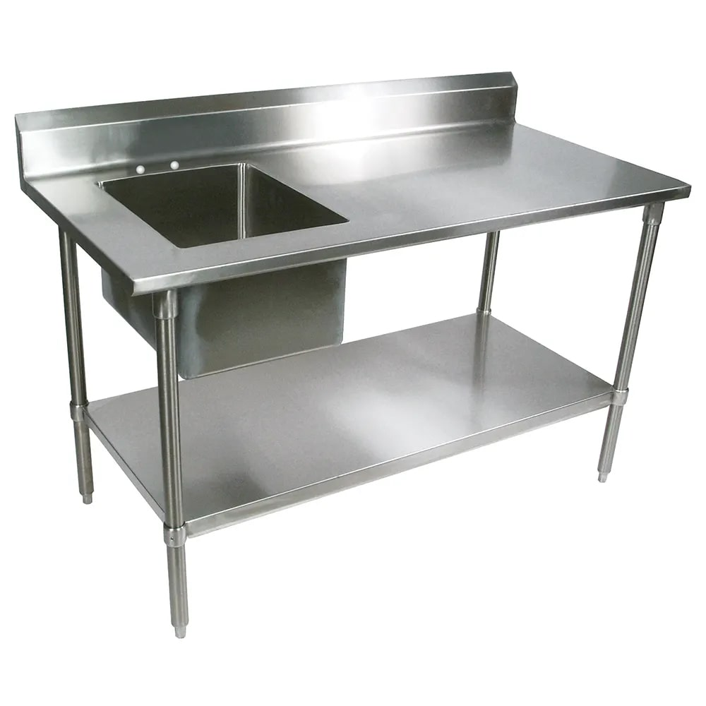 "John Boos EPT8R5-3072GSK-L 72"" Work Table w/ (1) Left Bowl, Galvanized Legs"