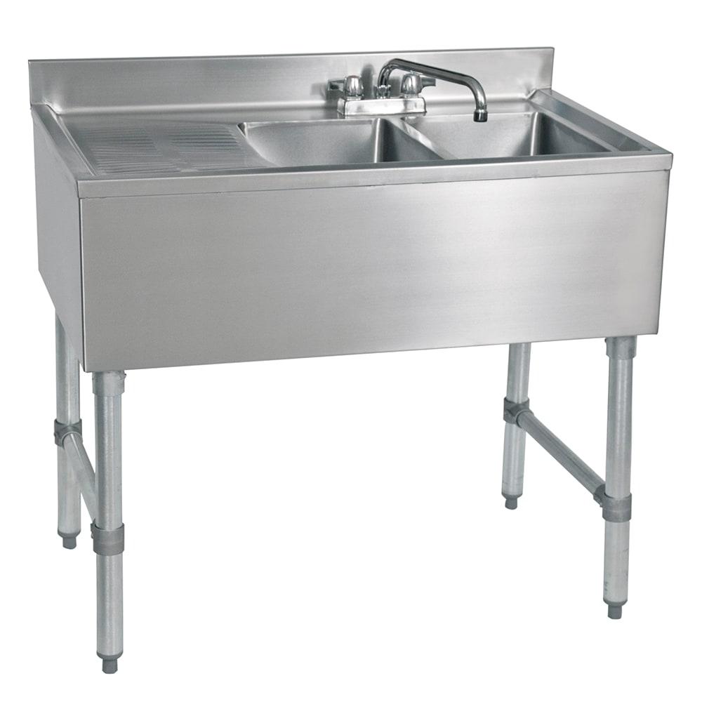 "John Boos EUB2S36-1LD 36"" Bar Sink w/ (2) 10x14x10"" Bowl, 4"" Faucet, Left Side Drainboard"