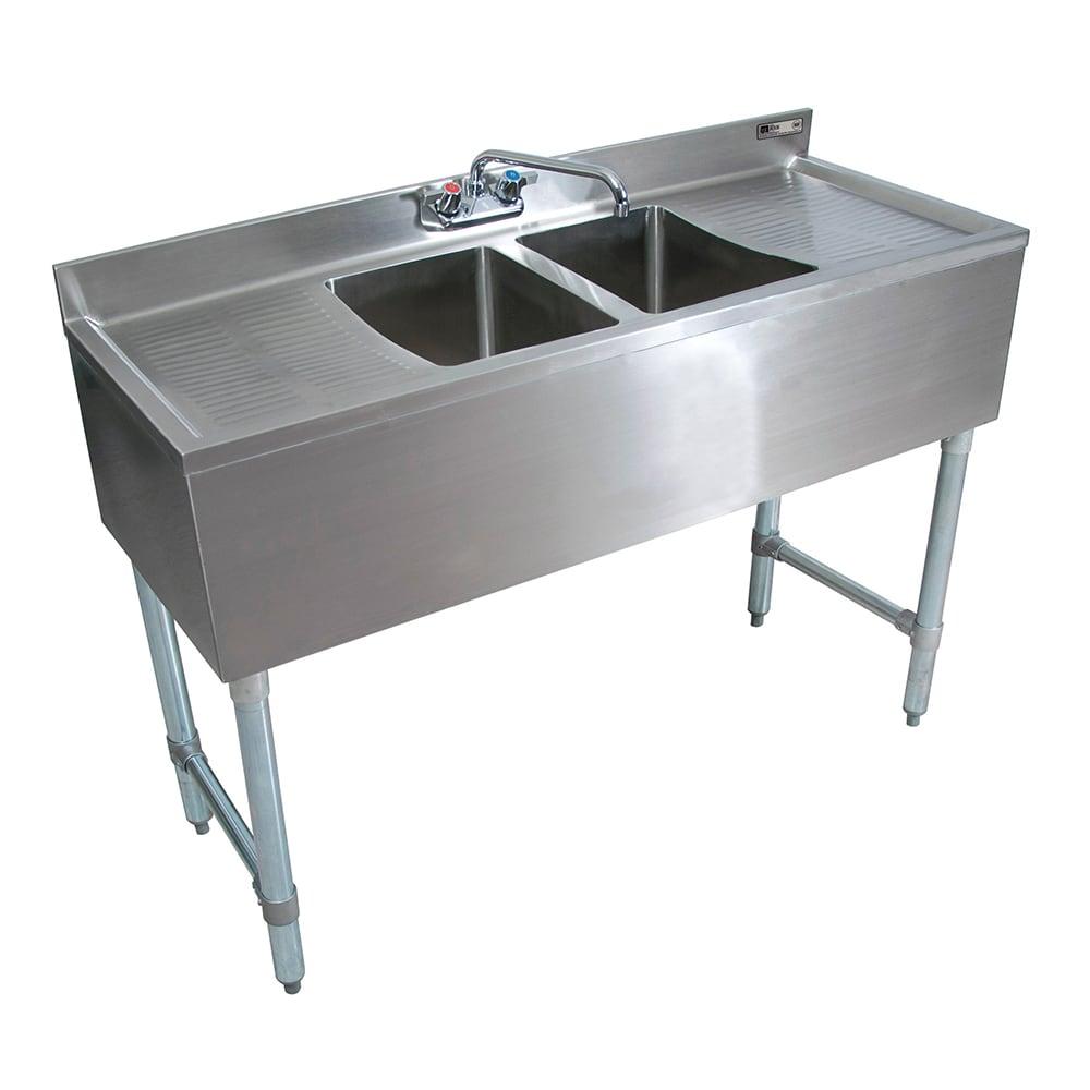 """John Boos EUB2S48-2D 48"""" 2-Compartment Sink w/ 10""""L x 14""""W Bowl, 10"""" Deep"""