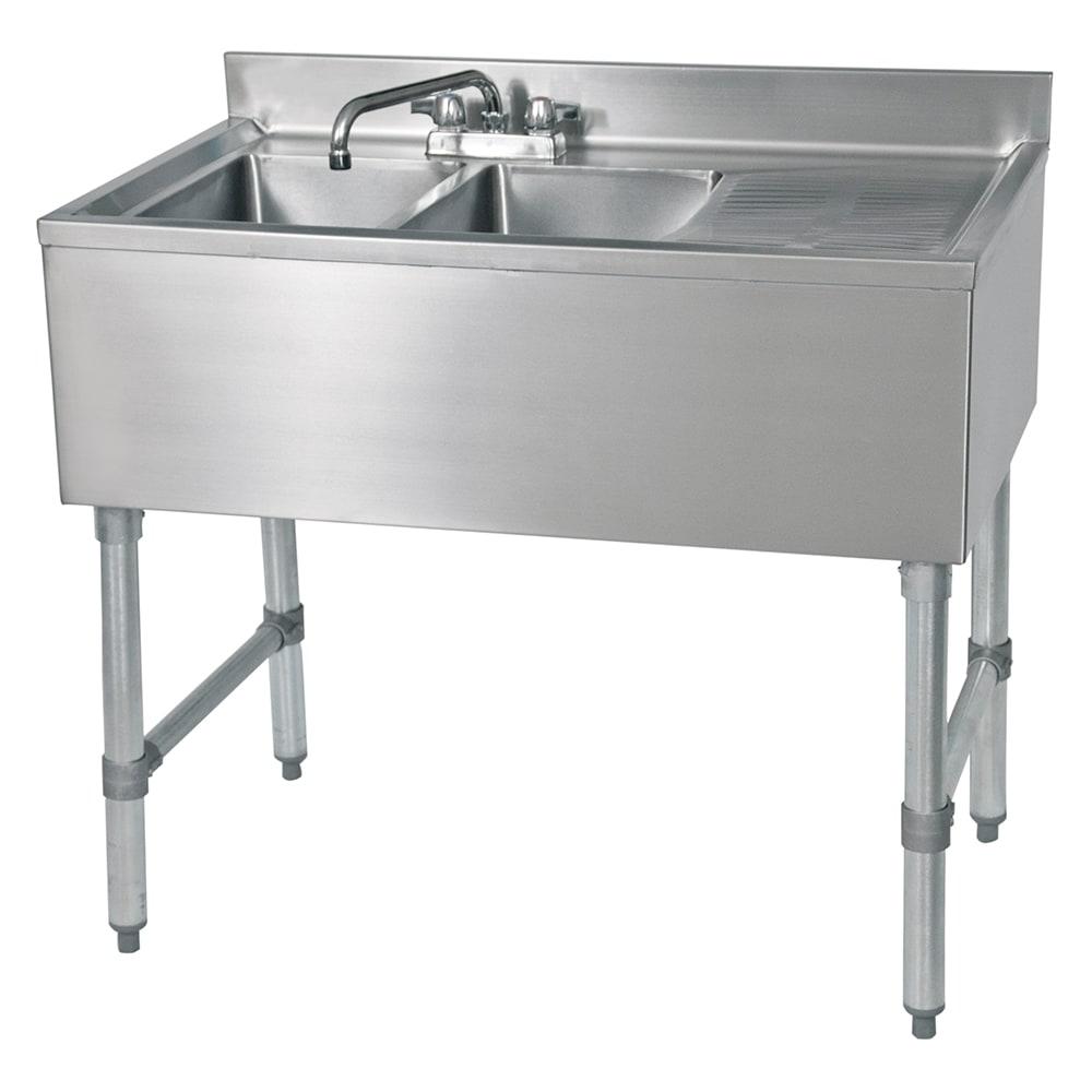 """John Boos EUB2S48SL-1RD 48"""" 2-Compartment Sink w/ 10""""L x 14""""W Bowl, 10"""" Deep"""