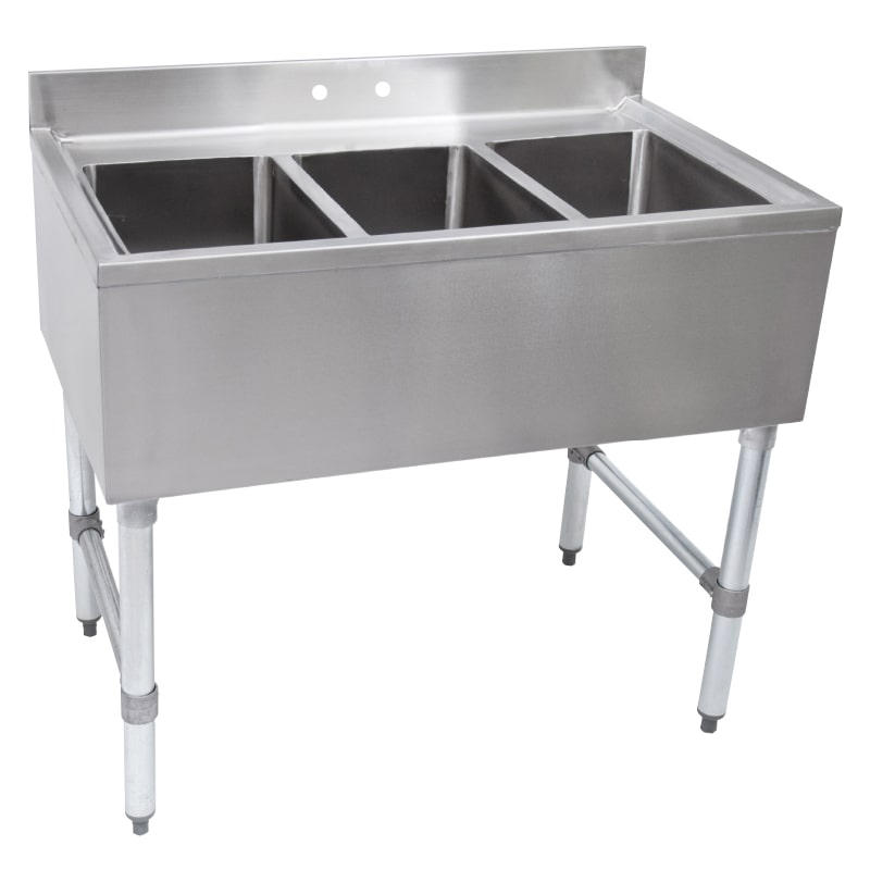 """John Boos EUB3S40 40"""" 3-Compartment Sink w/ 10""""L x 14""""W Bowl, 10"""" Deep"""