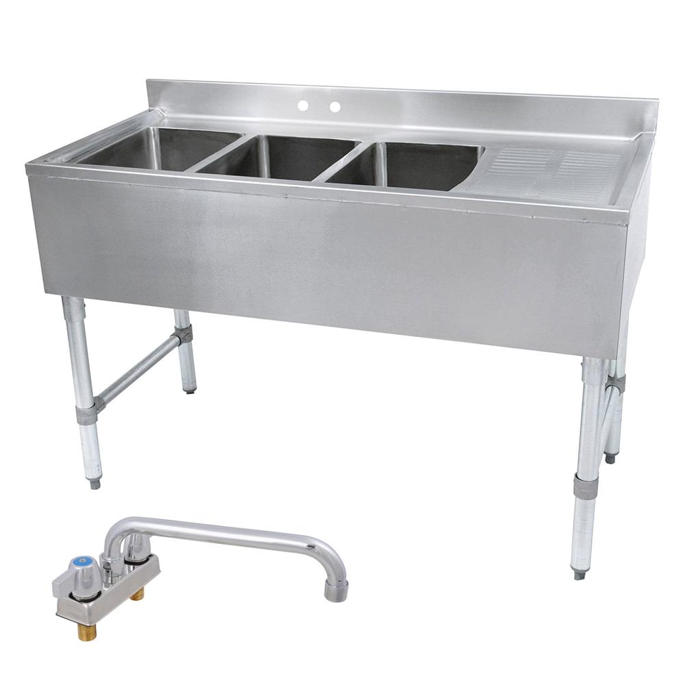 "John Boos EUB3S48-1RD 48"" Bar Sink w/ (3) 10x14x10"" Bowl, 4"" Faucet, Right Side Drainboard"