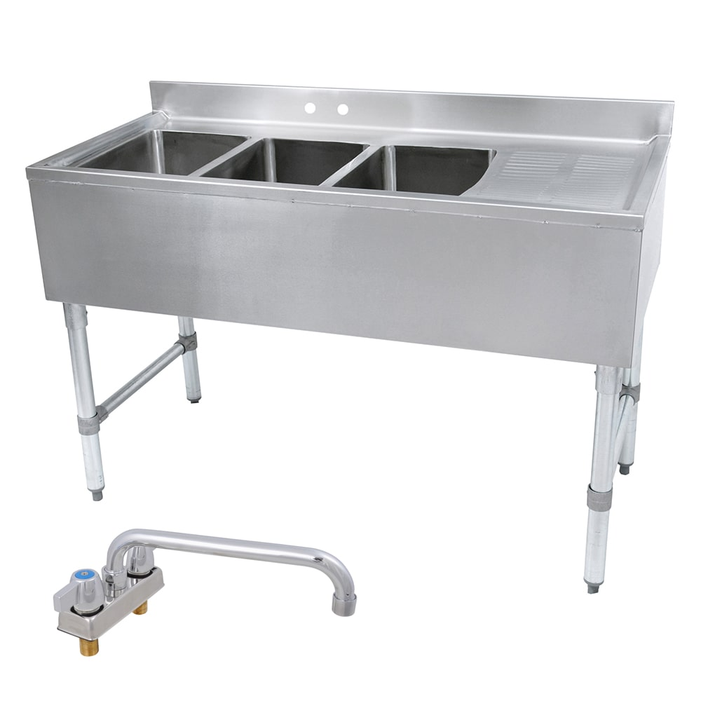 "John Boos EUB3S60-1RD 60"" 3 Compartment Sink w/ 10""L x 14""W Bowl, 10"" Deep"