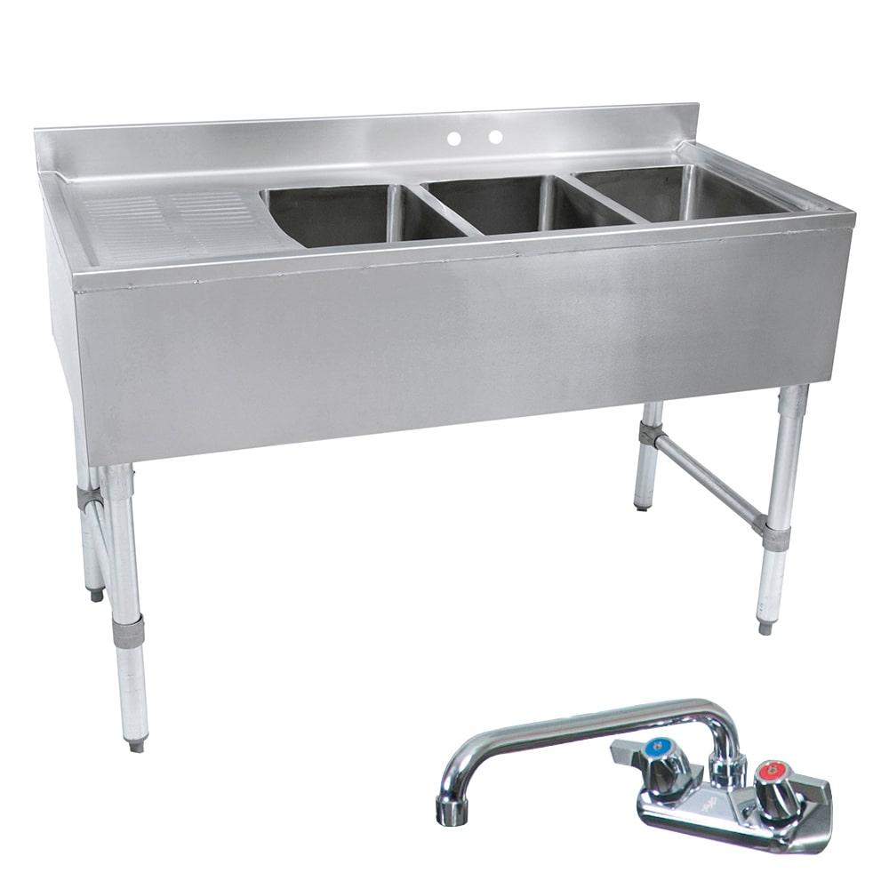 """John Boos EUB3S60SL-1LD 60"""" 3-Compartment Sink w/ 10""""L x 14""""W Bowl, 10"""" Deep"""