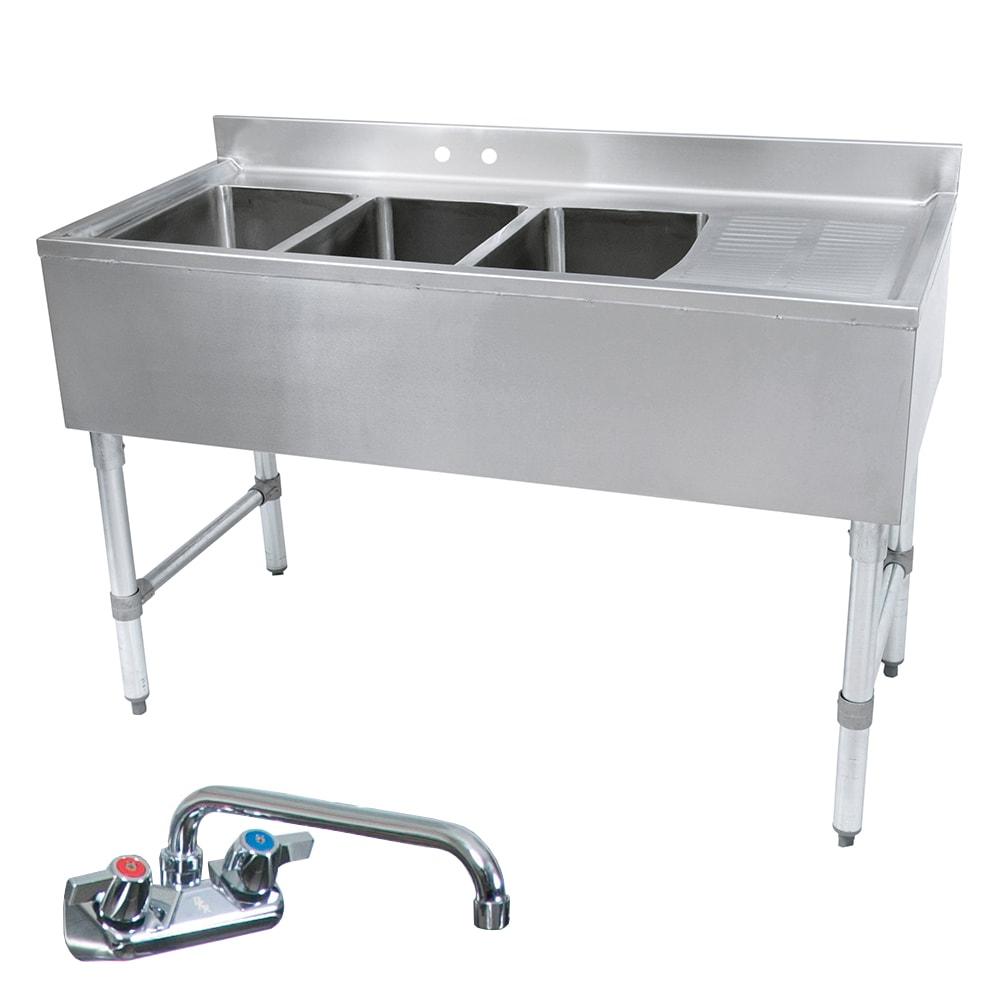 """John Boos EUB3S60SL-1RD 60"""" 3 Compartment Sink w/ 10""""L x 14""""W Bowl, 10"""" Deep"""