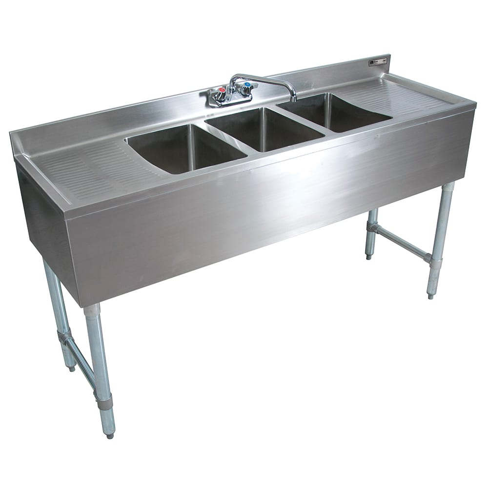 "John Boos EUB3S96-2D 96"" 3 Compartment Sink w/ 10""L x 14""W Bowl, 10"" Deep"
