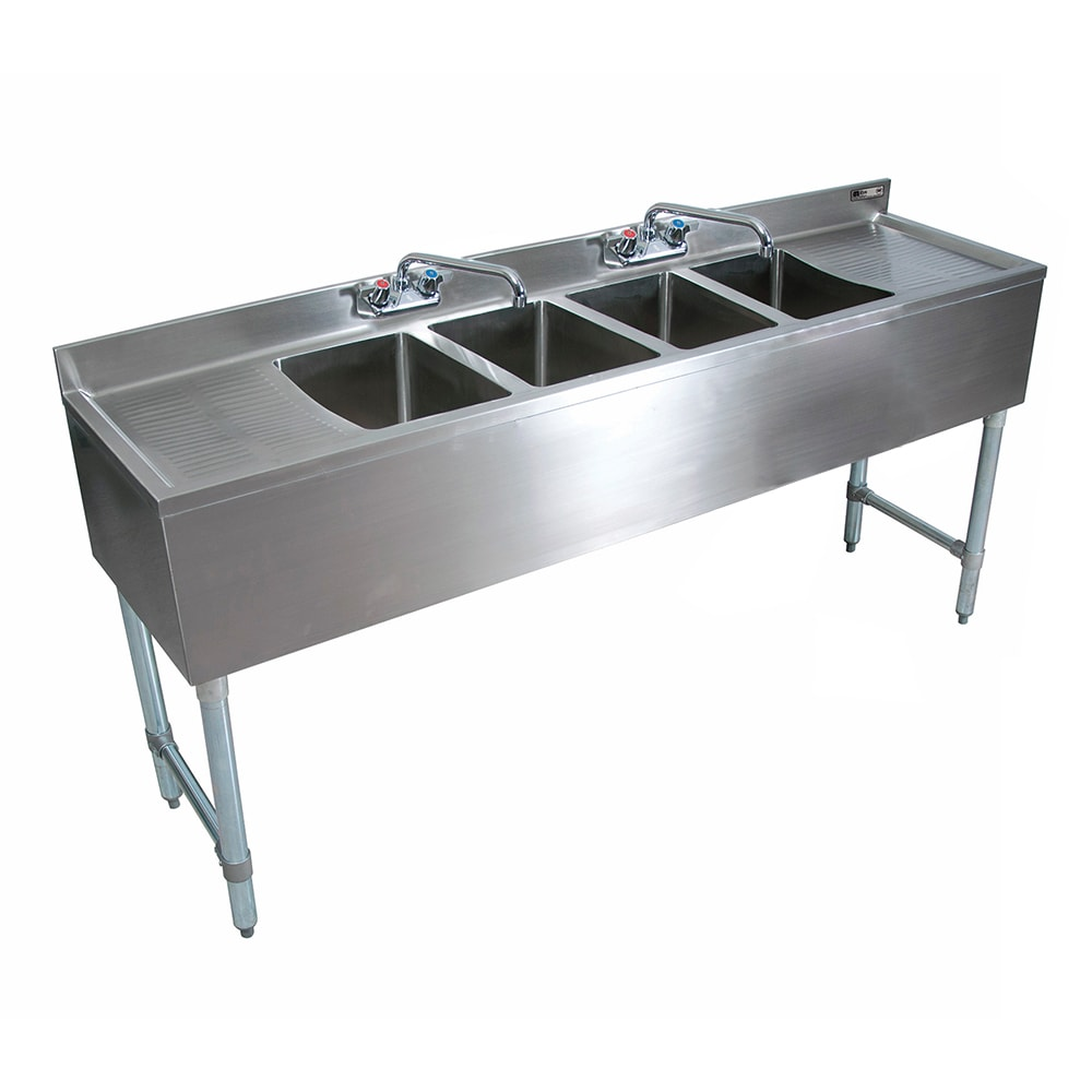 "John Boos EUB4S96SL-2D 96"" Underbar Sink Unit w/ (4) Compartments & 25"" Left & Right Drainboards, Galvanized Legs"
