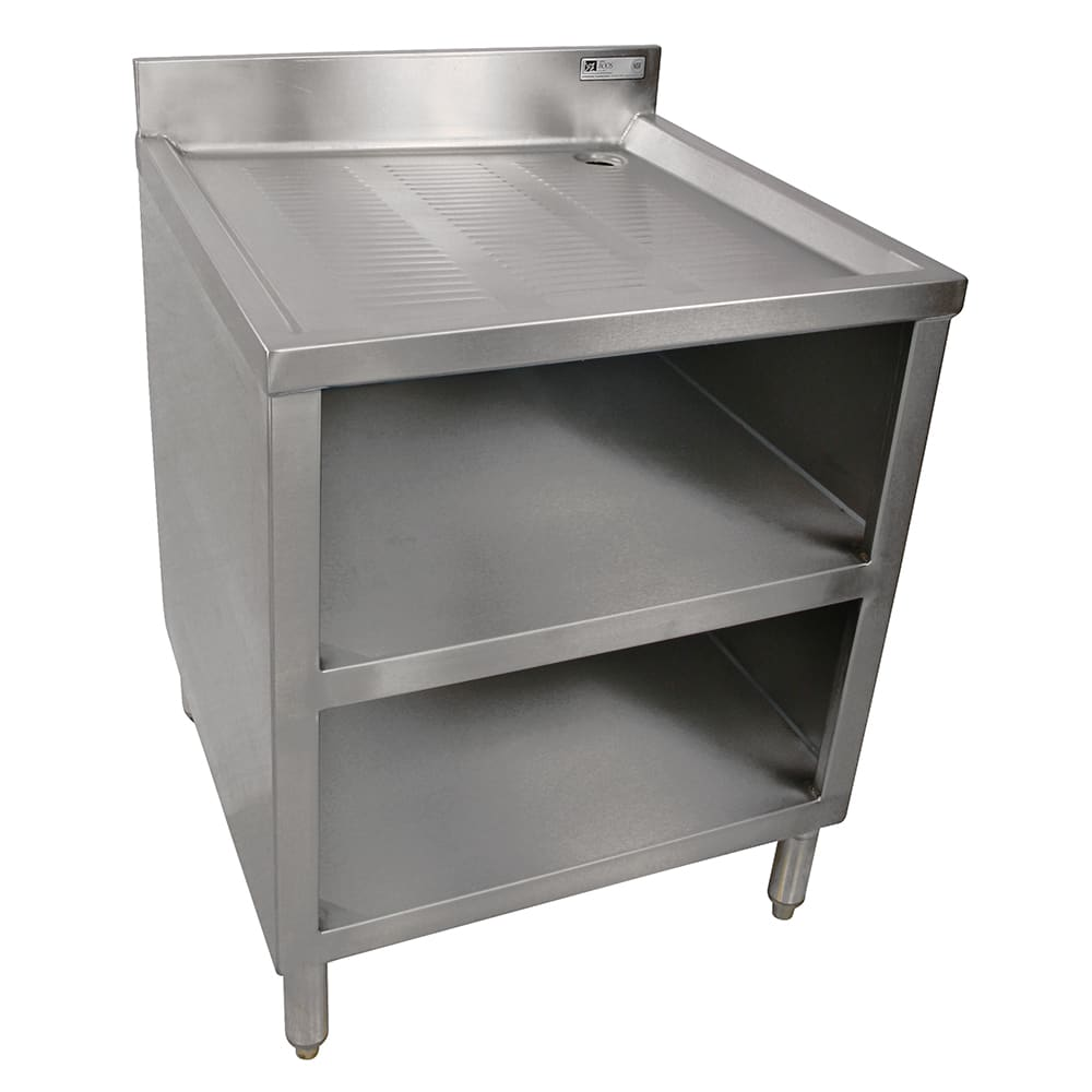 "John Boos EUBGRS-24-2 24"" Glass Rack Storage w/ Sink & Drainboard, 2-Glass Rack Capacity"