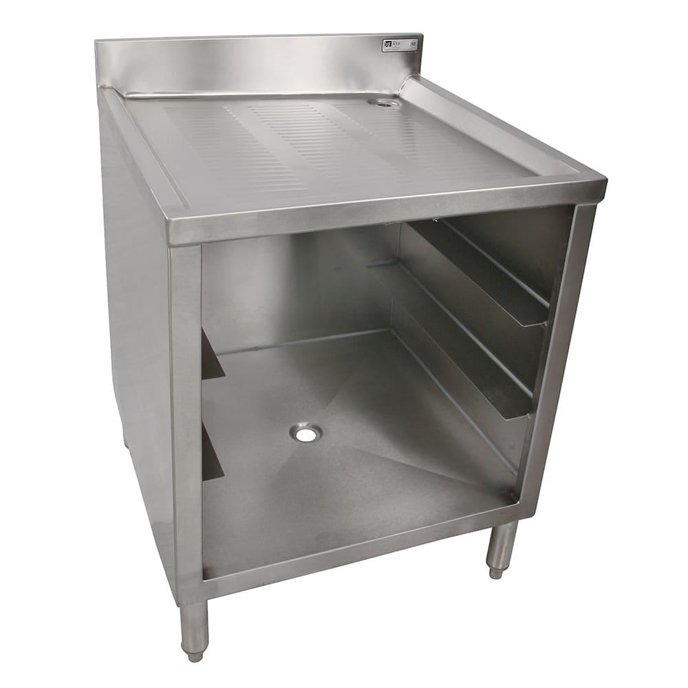 "John Boos EUBGRS-24-3 24"" Prep Table w/ Sink & Drainboard, 3-Glass Rack Capacity"