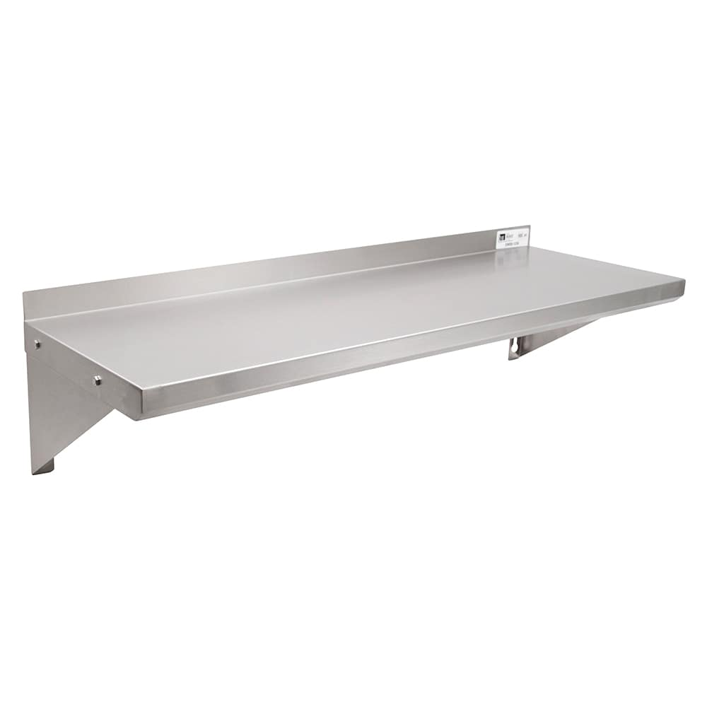 "John Boos EWS8-1248 Solid Wall Mounted Shelf, 48""W x 12""D, Stainless"