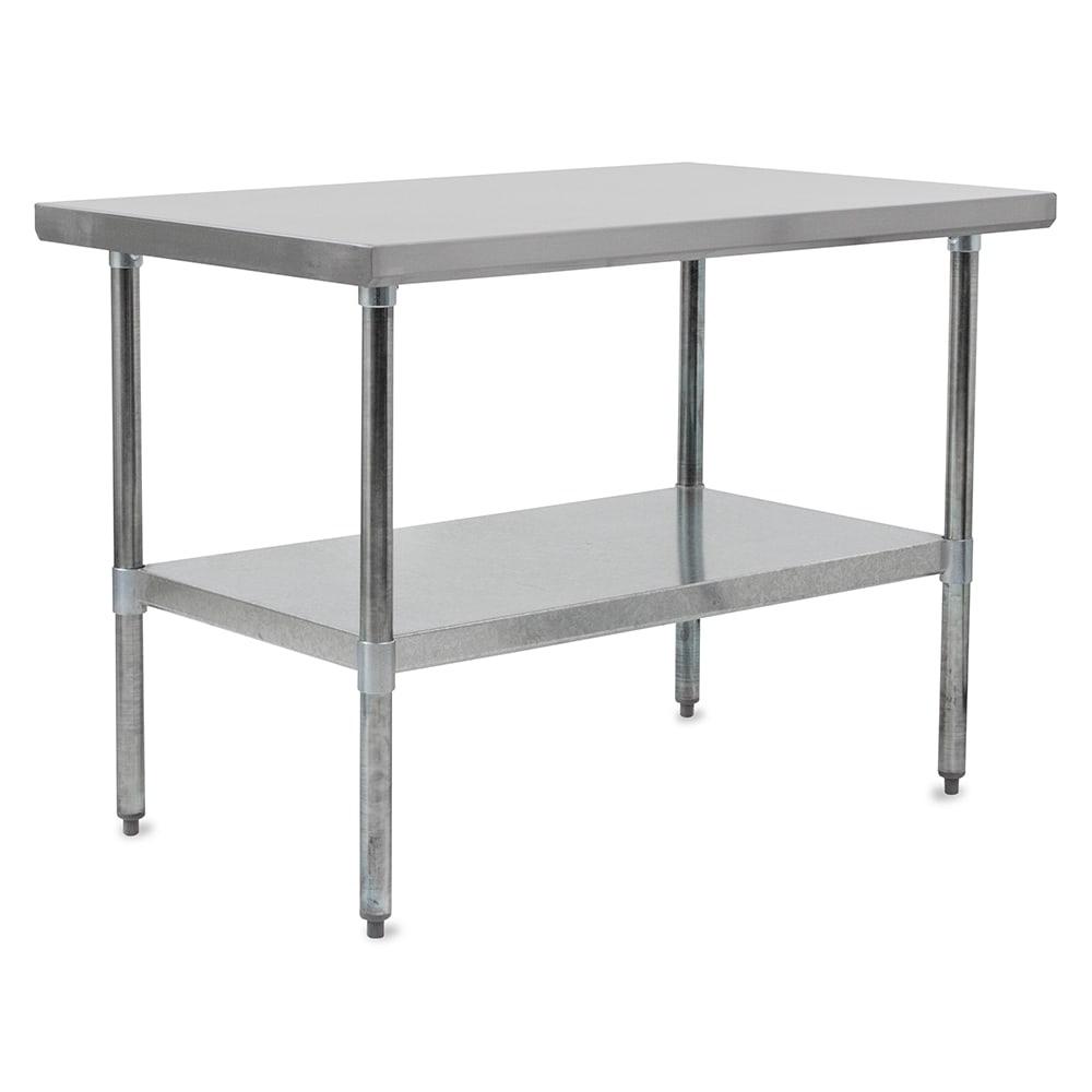 "John Boos FBLG9624 96"" 18 ga Work Table w/ Undershelf & 430 Series Stainless Flat Top"