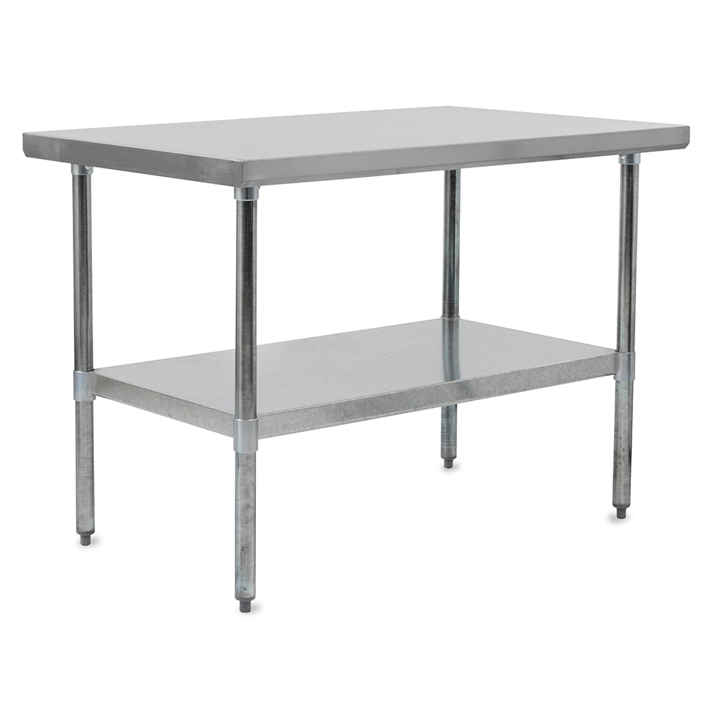 "John Boos FBLG9630 96"" 18 ga Work Table w/ Undershelf & 430 Series Stainless Flat Top"