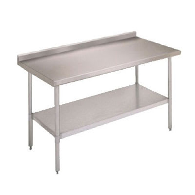 "John Boos FBLGR5-3030 30"" 18-ga Work Table w/ Undershelf & 430-Series Stainless Top, 5"" Backsplash"